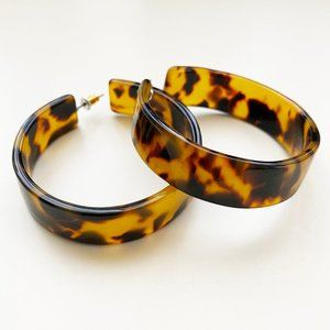 Vintage Tortoise Acrylic Hoop Earrings